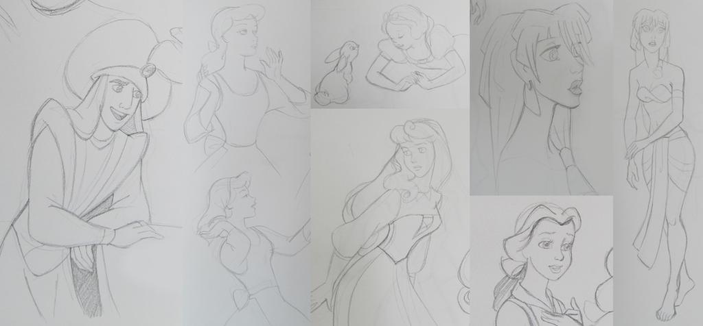 Disney Sketches by AzaleasDolls