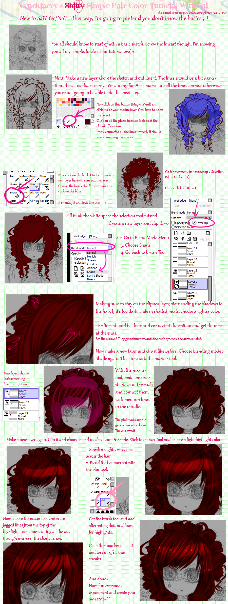 Crackfaery's Simple Hair Coloring Tutorial + Sai by CrackFaery