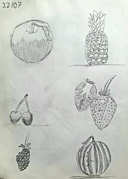 Day 22: 5 Attempted Drawings of Different Fruits