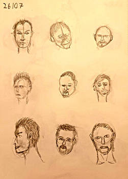 Day 26: 9 Attempts at Drawing Men's Faces