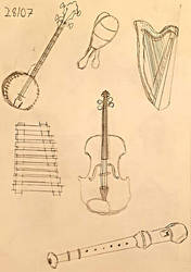 Day 28: 6 Drawings of Different Musical Instrument