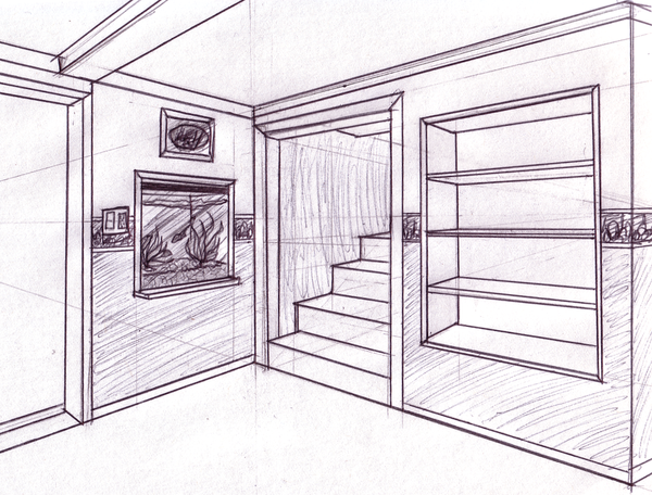 one point perspective living room drawing two pt perspective livingroom by raventailblacktalon on 26540