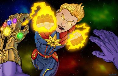 Captain Marvel vs Thanos color
