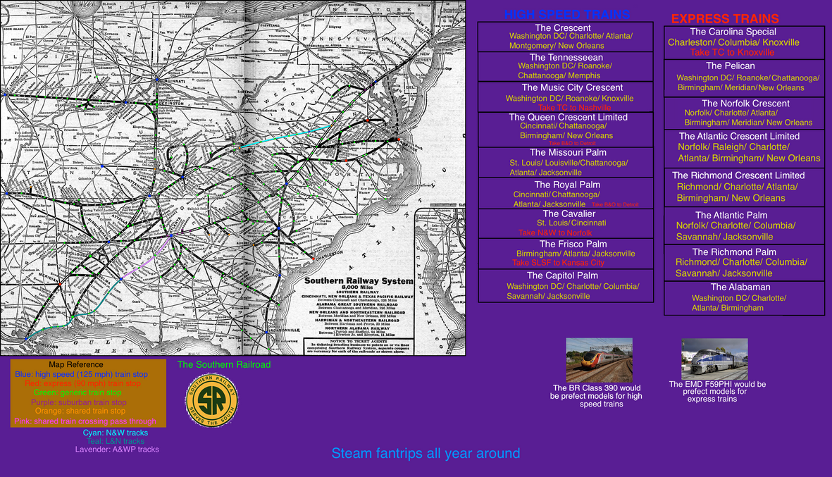 Fictionalized Southern Railroad map post 1990 by mrbill6ishere