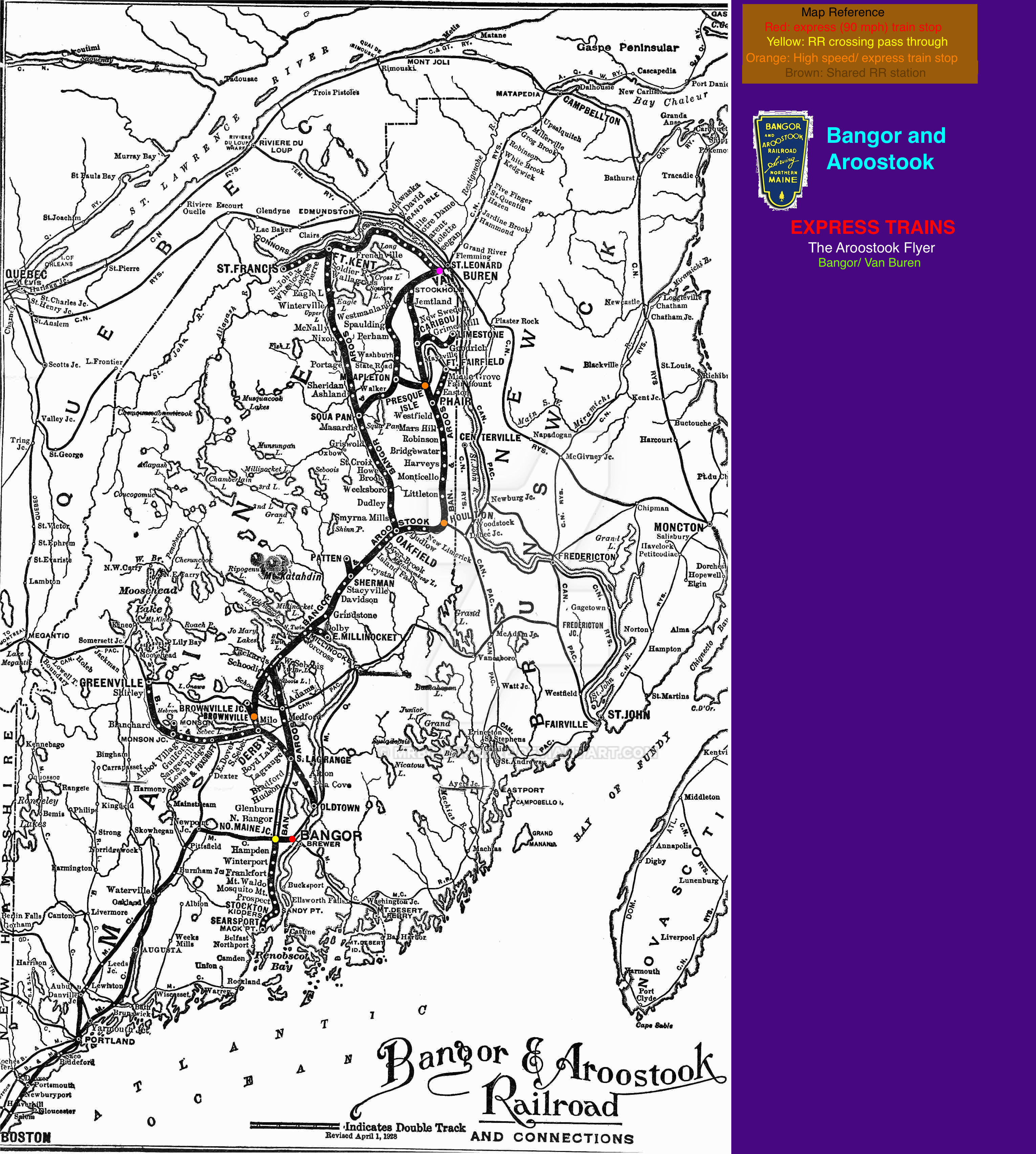 Fictionalized Bangor and Aroostook map by mrbill6ishere