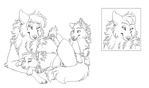 Mother and Pups Lineart