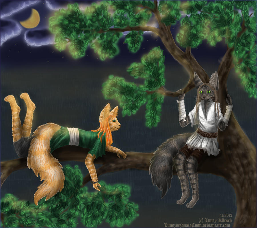 On the moonlit tree by LunozvezdnaiaCoon
