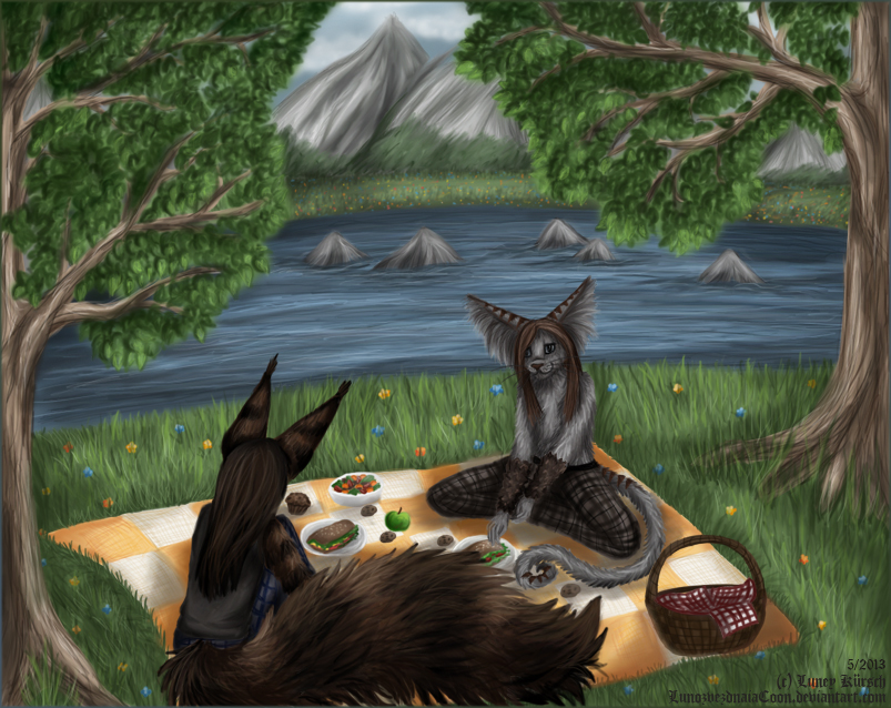 Picnic on a lake island by LunozvezdnaiaCoon