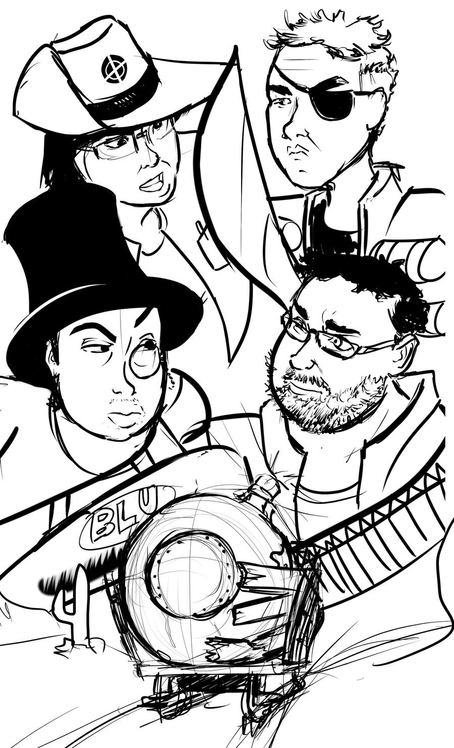 quick sketch of simon and lewis  and friends