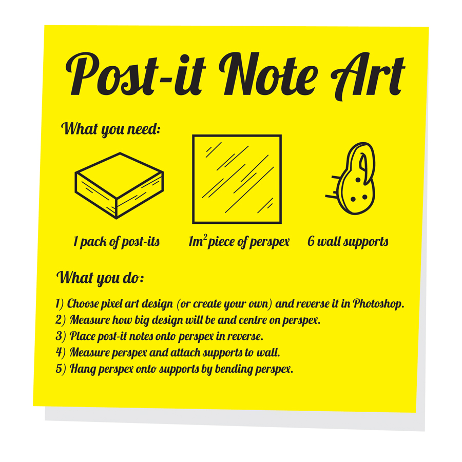 Post-it Note Art Instructions by mattcantdraw