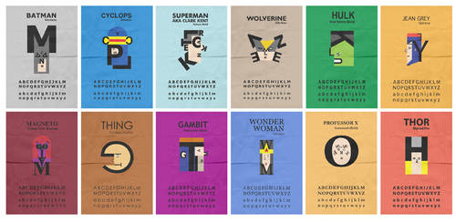 Superhero Typefaces by mattcantdraw