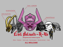 Evil Helmets-R-Us by mattcantdraw