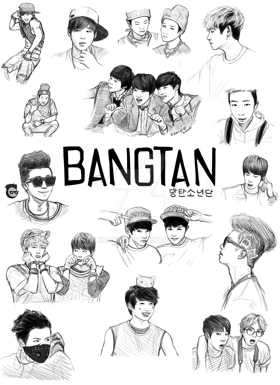 Line Art Kpop : Bangtan my first fanart by kharys on deviantart