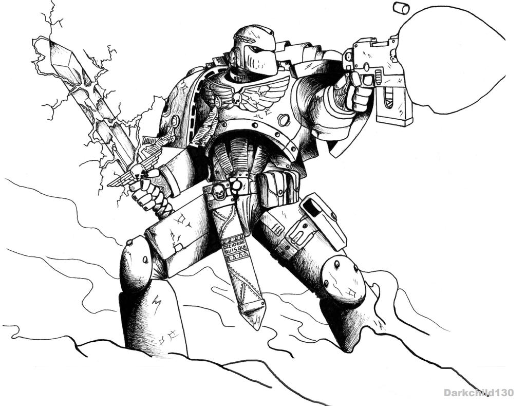 Commission: Blue Hawks Space Marine by darkchild130