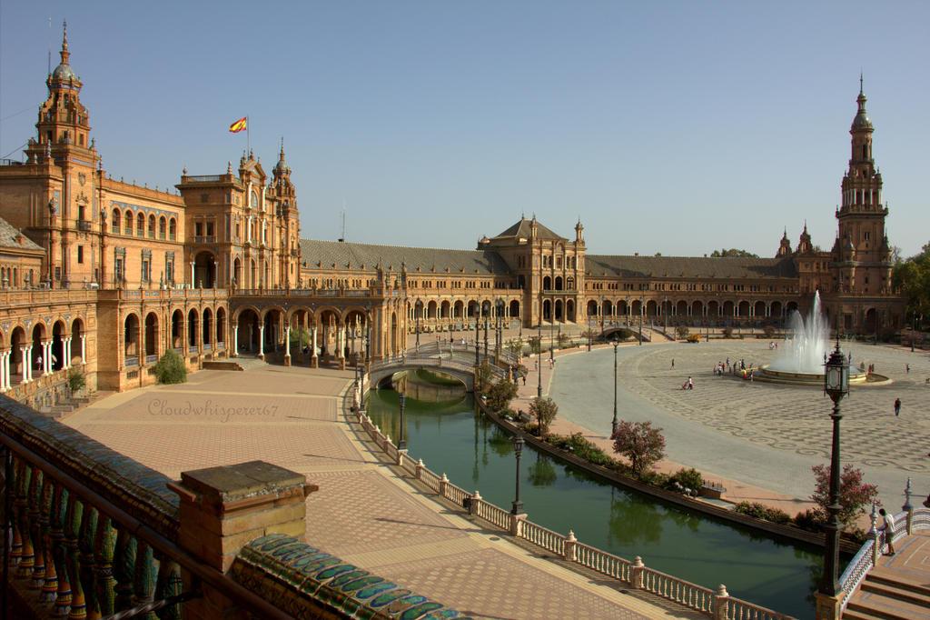 Plaza de Espana - Seville (High view) by Cloudwhisperer67