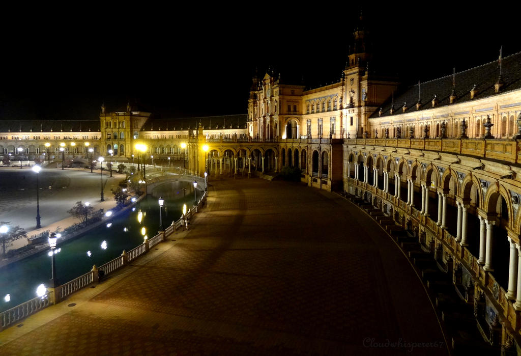 Plaza de Espana by night - Seville (High view) by Cloudwhisperer67