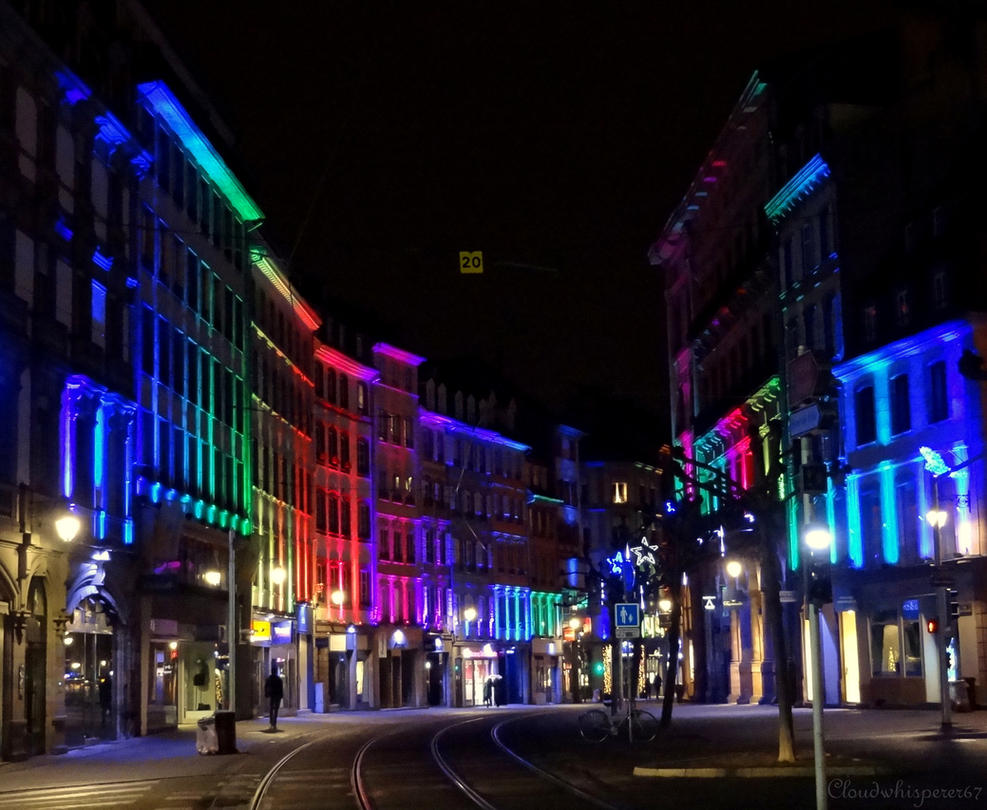 Rainbow Street - Strasbourg by night - Xmas 2014 by Cloudwhisperer67