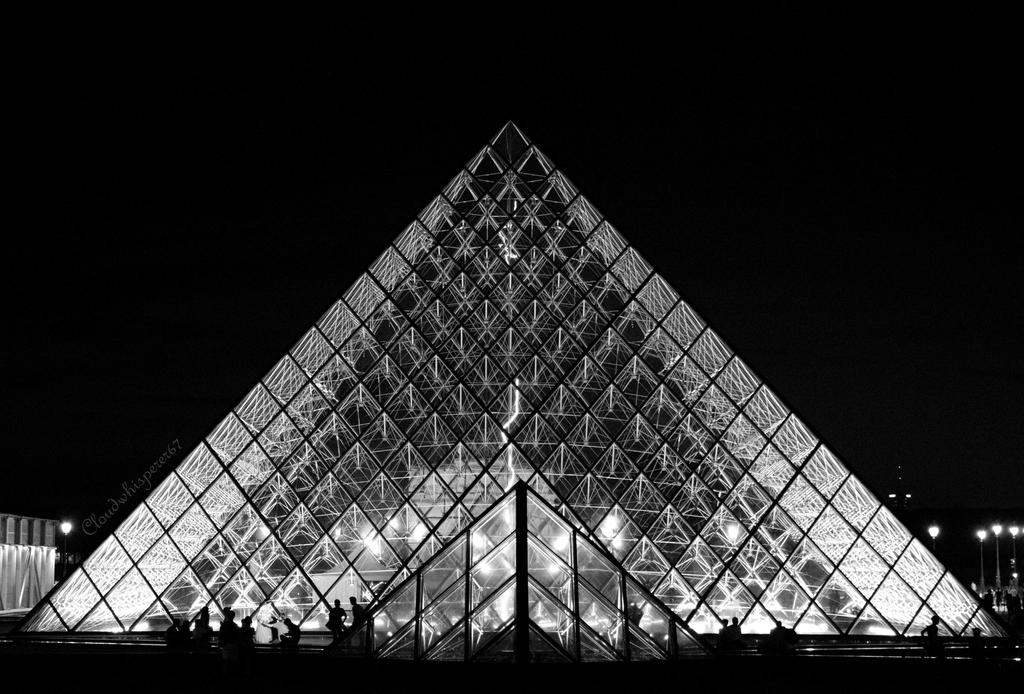 The Louvre Pyramid by night by Cloudwhisperer67