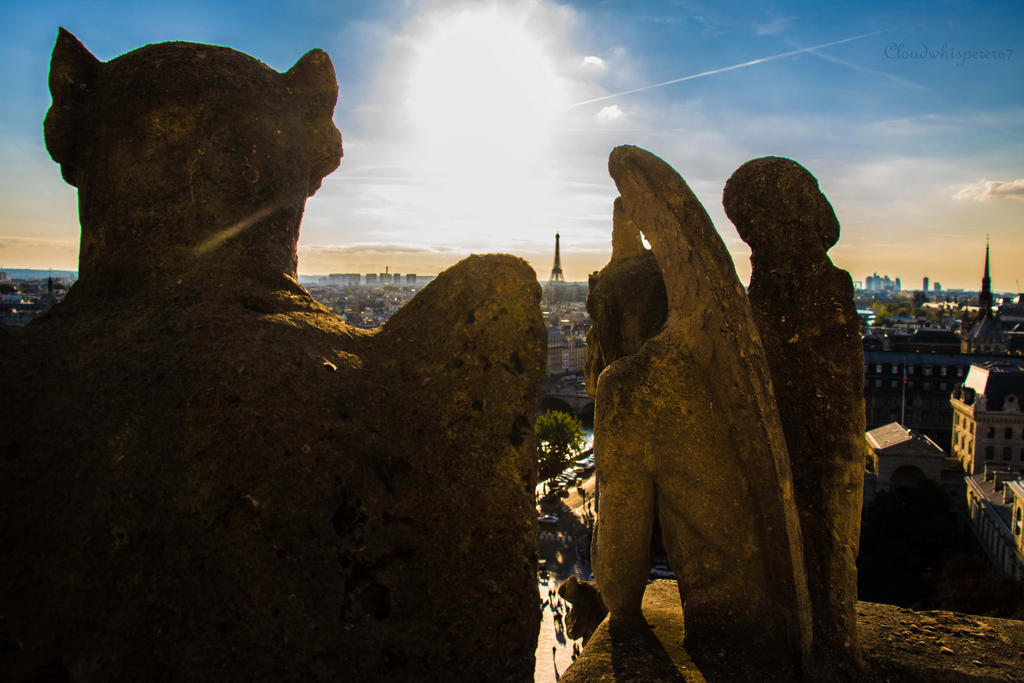 Gargoyles Watching Over the Eiffel Tower by Cloudwhisperer67