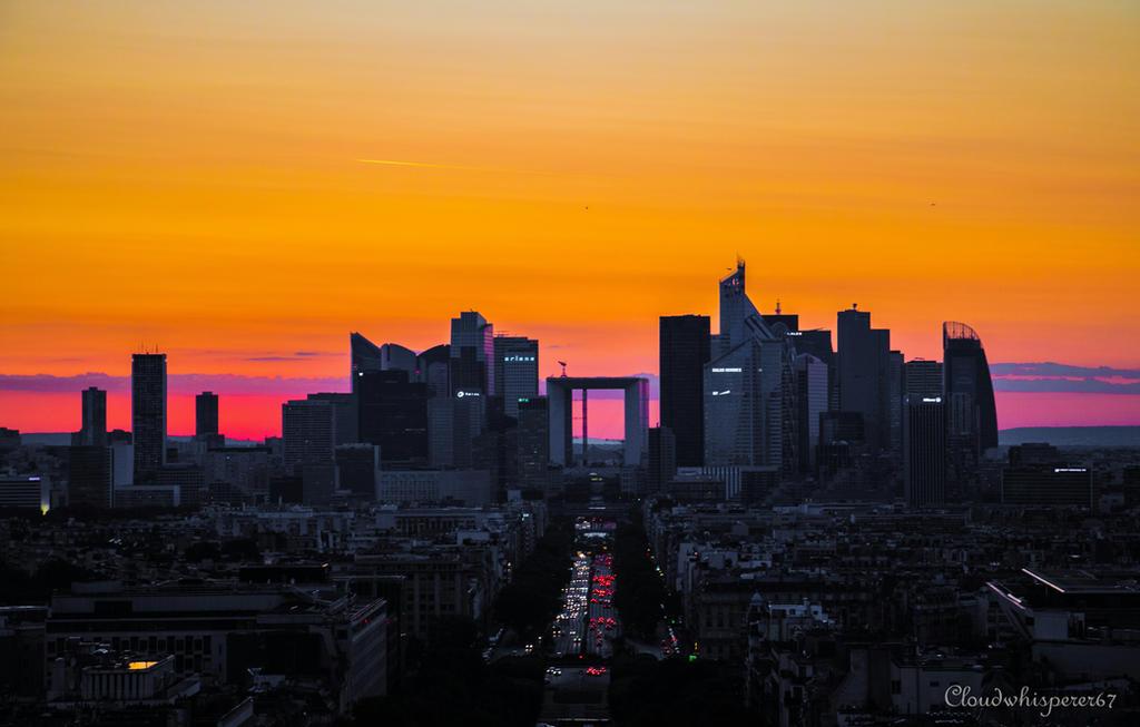 Golden Hour - La Defense, Paris by Cloudwhisperer67