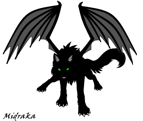 Evil black winged wolf - photo#17