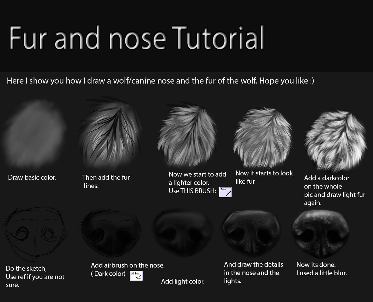 Nose and fur Tutorial by TheMysticWolf on DeviantArt