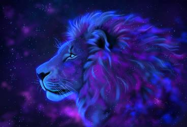 Galaxy lion by TheMysticWolf