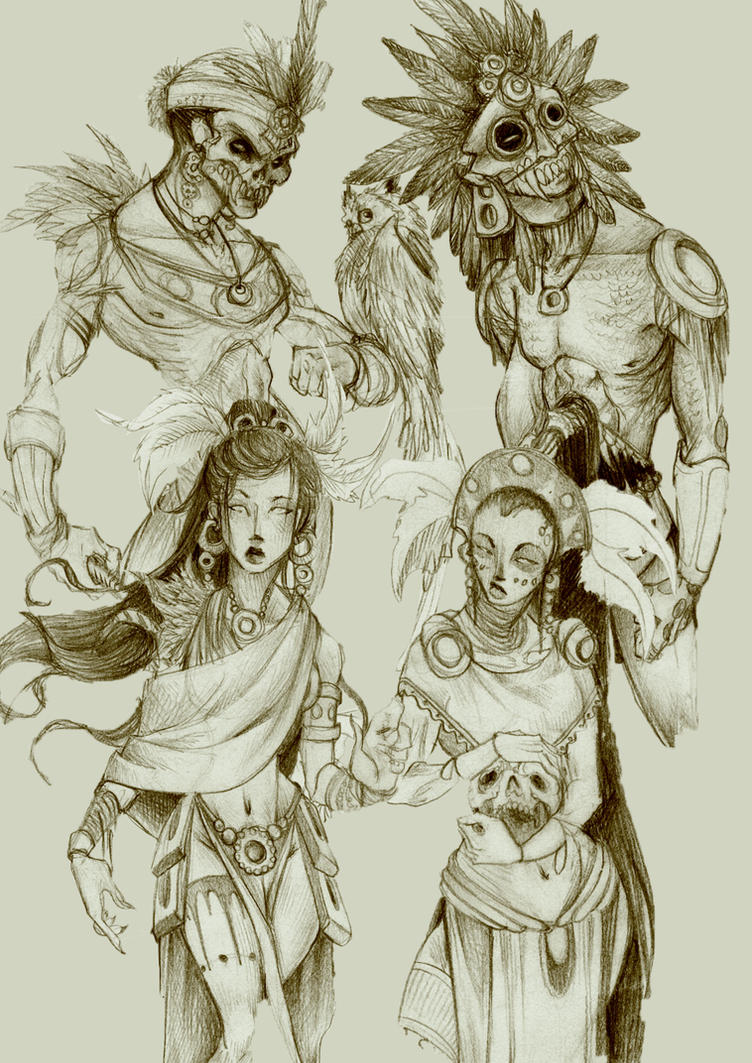 Aztec Gods - Sketches by Deceptipunk on DeviantArt