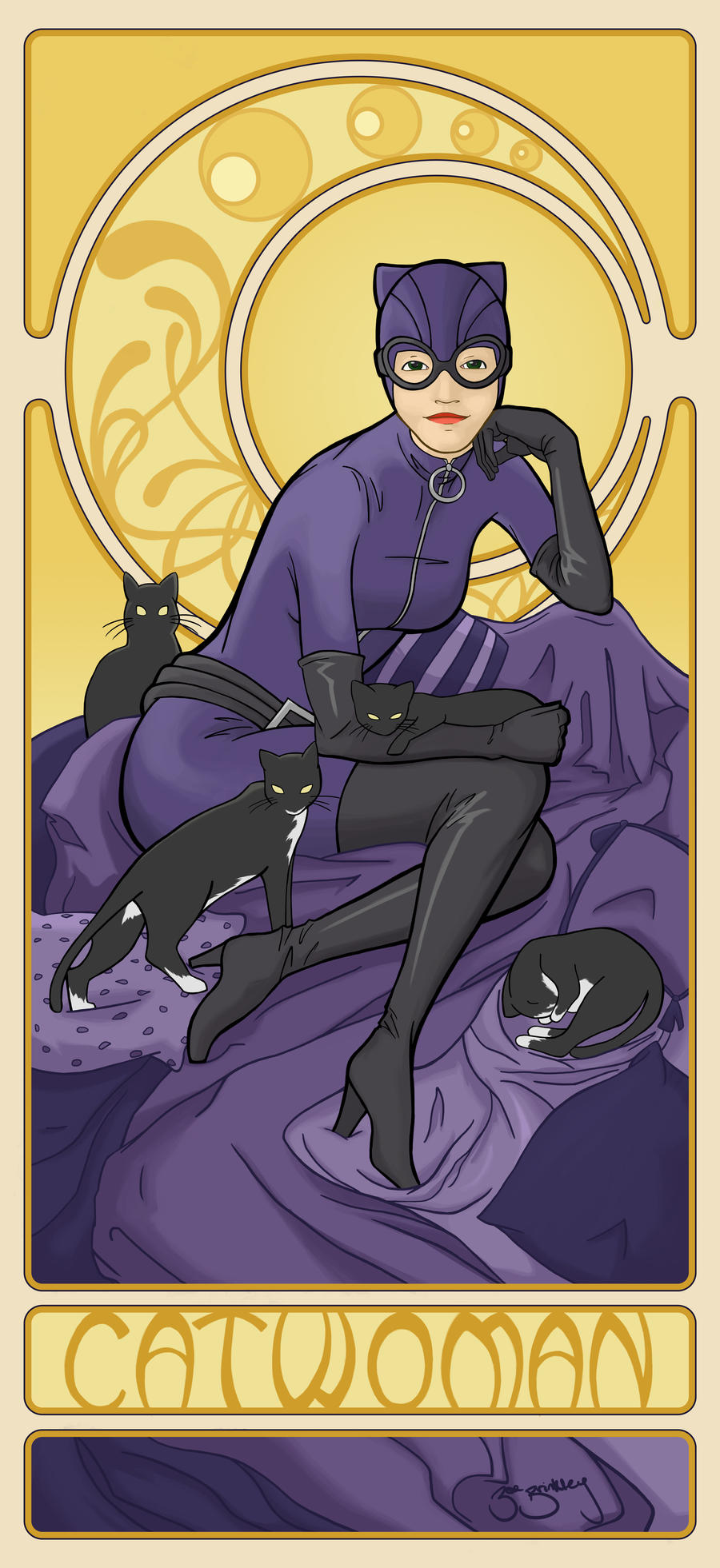 Art Nouveau Catwoman by BrinkleyInk