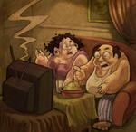 Fat guys watching TV