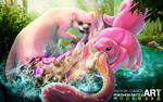 Lickitung VS Slowbro  - Pokemon Battle Art
