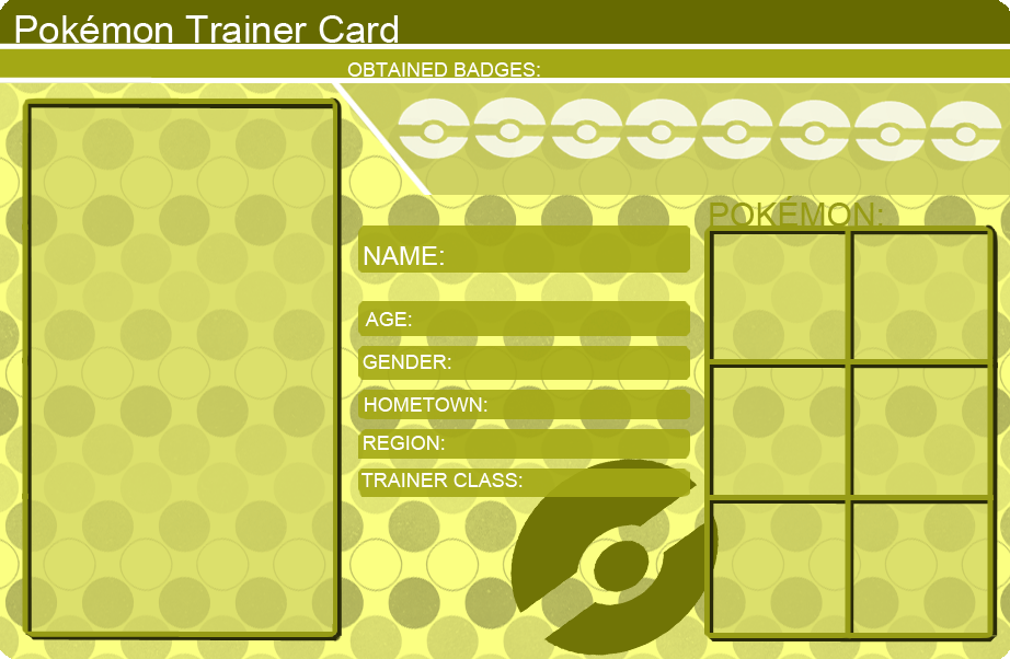 Pokemon Trainer Card Template Yellow By KhfanT On DeviantArt - Pokemon trainer card template