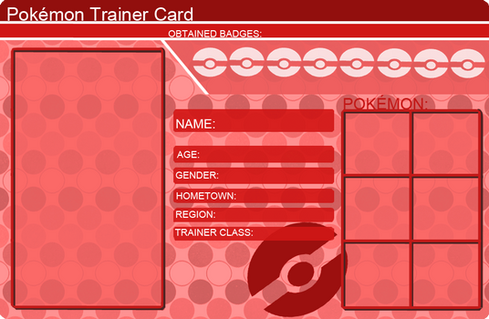 khfanT 32 9 Pokemon Trainer Card Template Red by khfanT