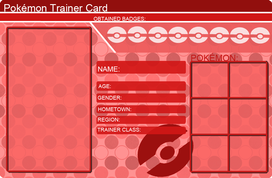 Pokemon Trainer Card Template Red By KhfanT On DeviantArt - Pokemon trainer card template