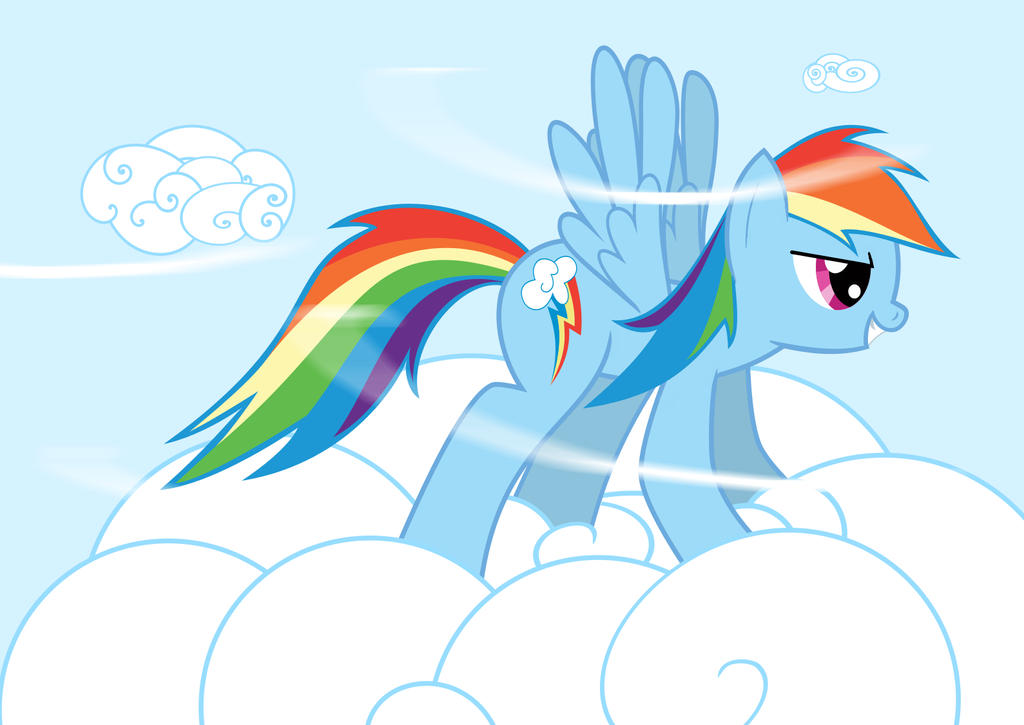 Rainbow Dash with the Wind in her Mane by benzensulfonic