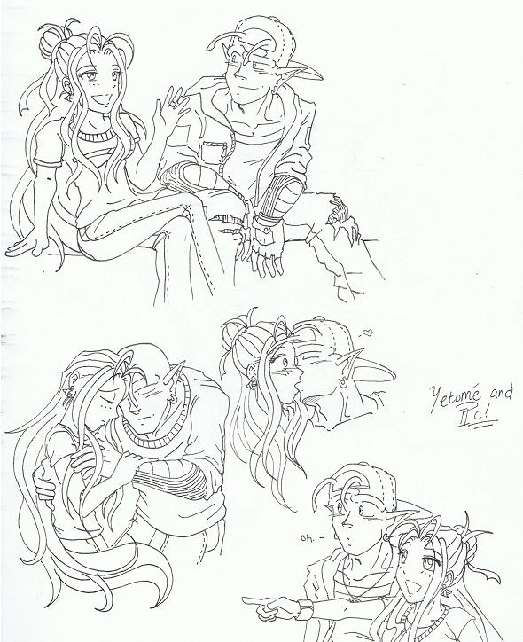 Yetome and PC - Sketches by PookyWooky