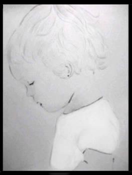 Sweet girl portrait in pencil -