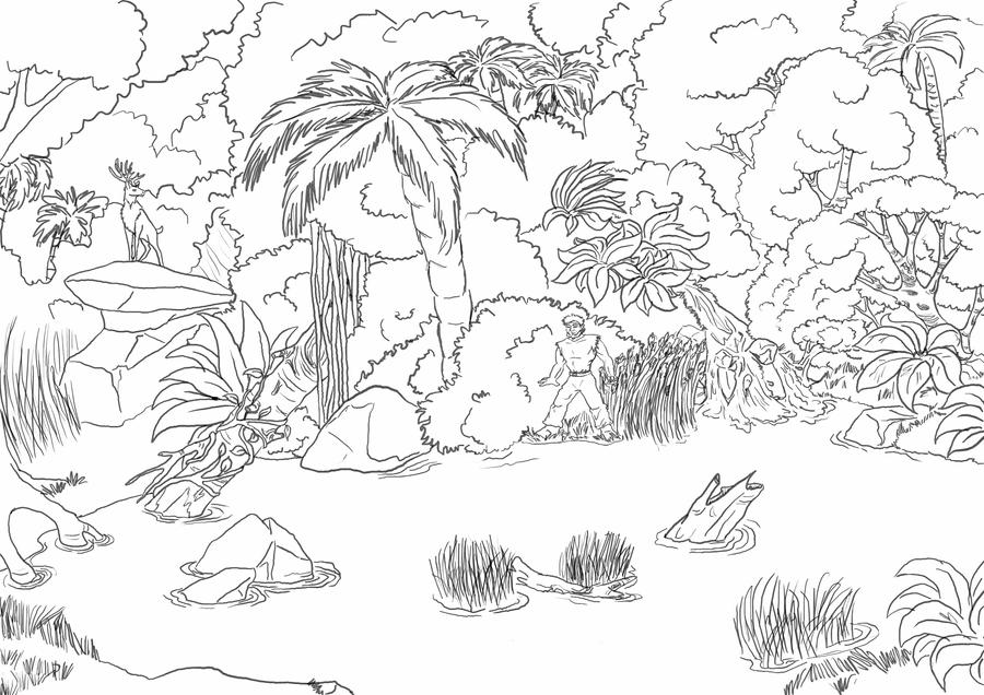 Line Drawing Jungle : In the jungle by polarliger on deviantart