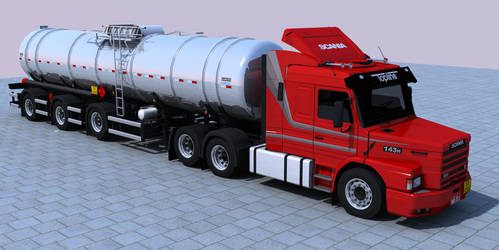Scania T143H + Stainless steel Randon tank trailer by d-camilo87