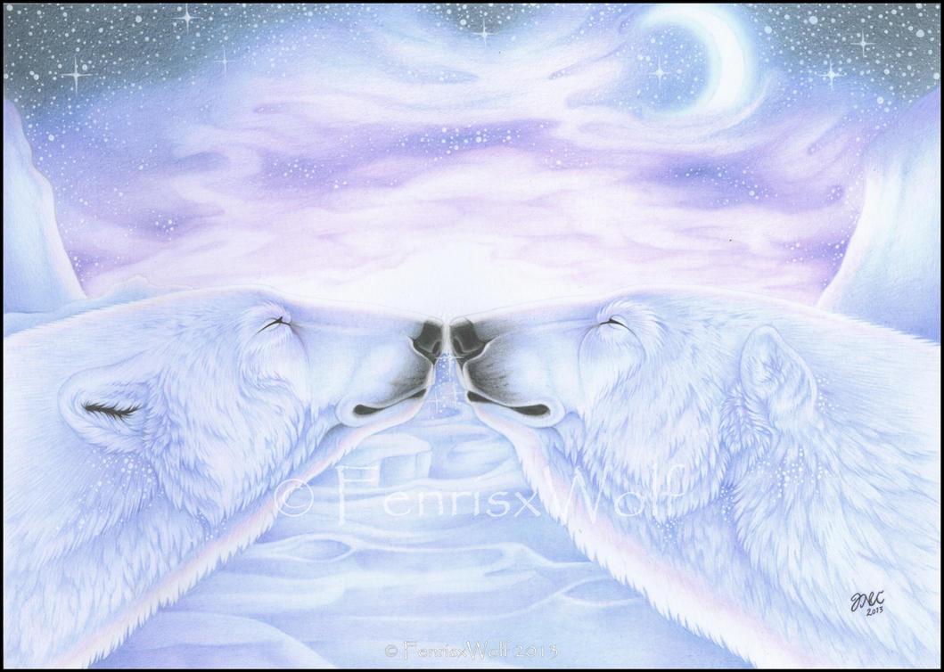 Polar bear kisses by FenrisxWolf
