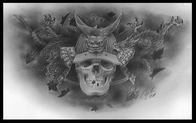 Samurai skull by cigla