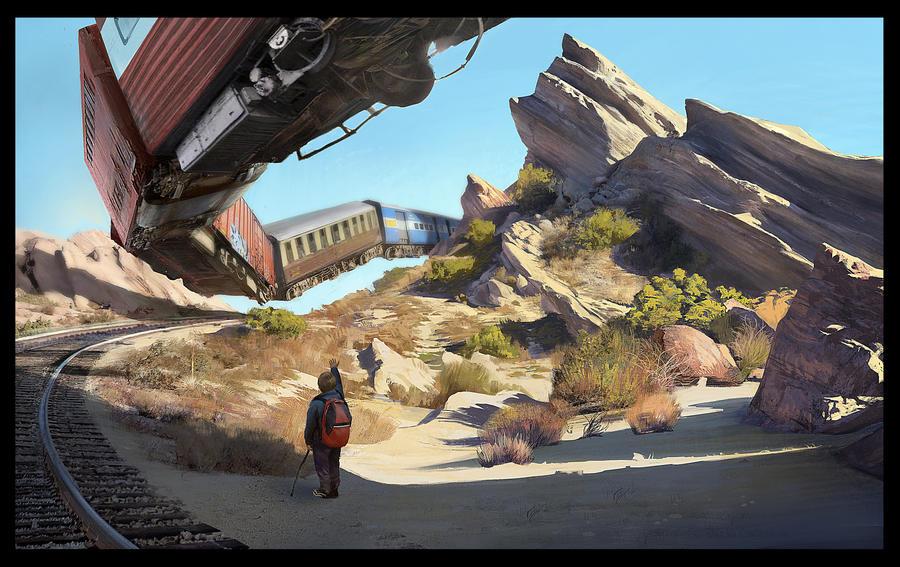 Vasquez Rocks Landscape Painting by KangJason