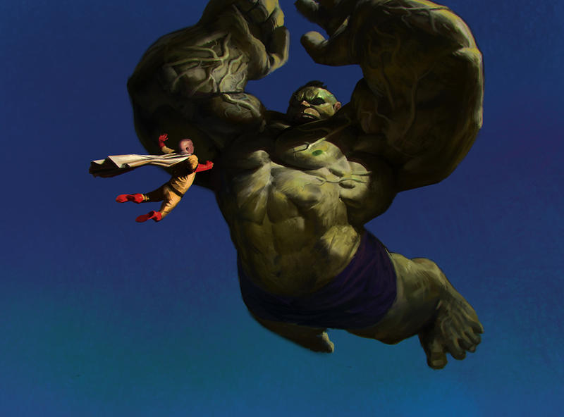 Saitama vs Hulk by KangJason