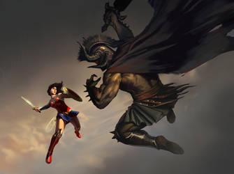 Wonder Woman vs Ares by KangJason