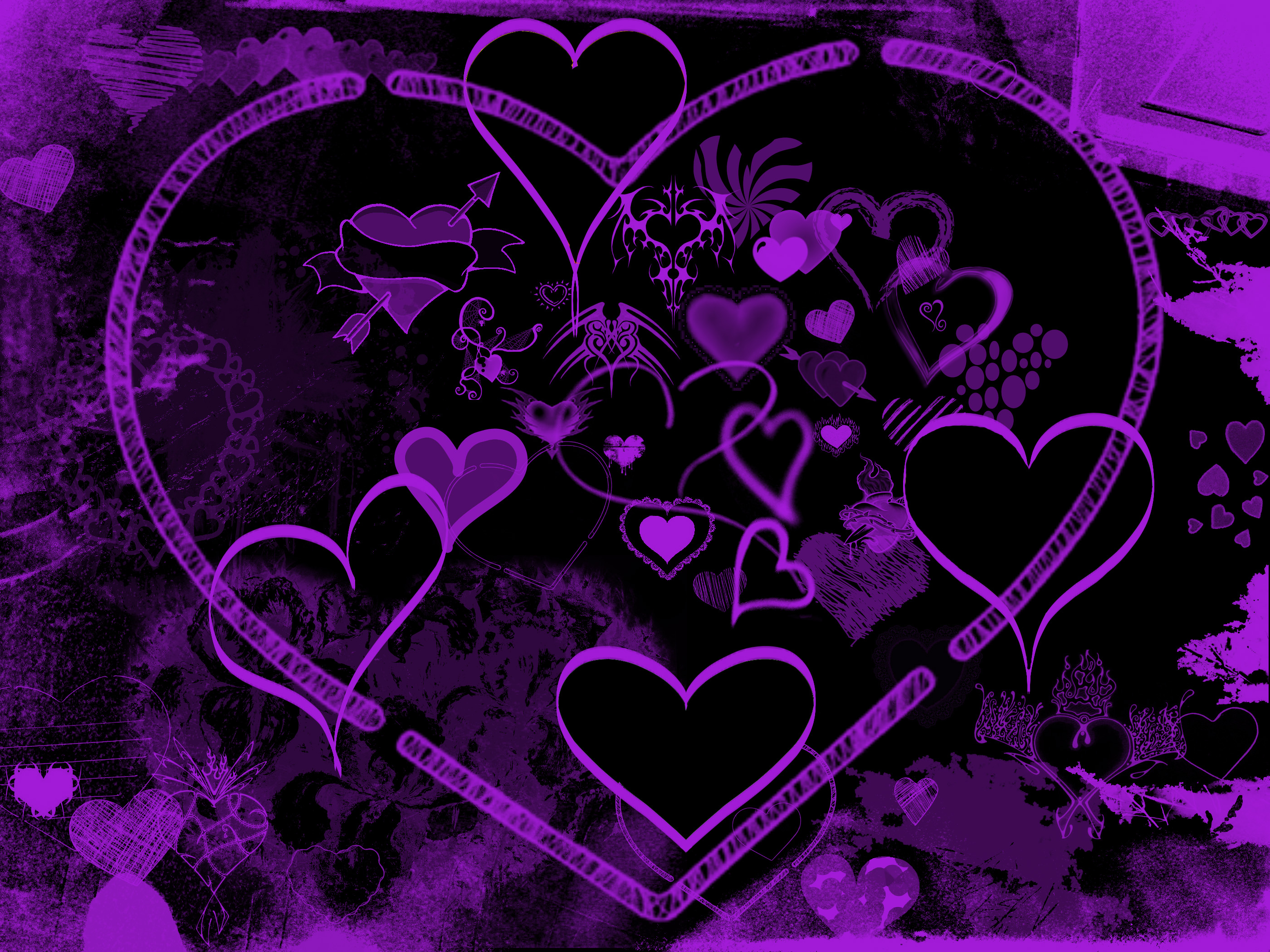 Purple love heart background