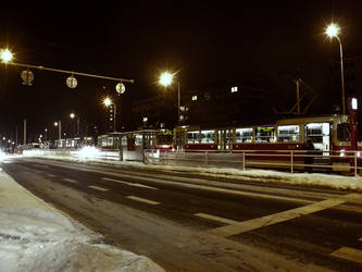 A row of trams