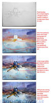 Fireplace in watercolour ... tutorial