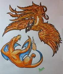 Phoenix and Charizard by MarvaKS