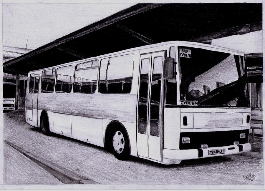 Old BUS Karosa drawing by AjoslaF