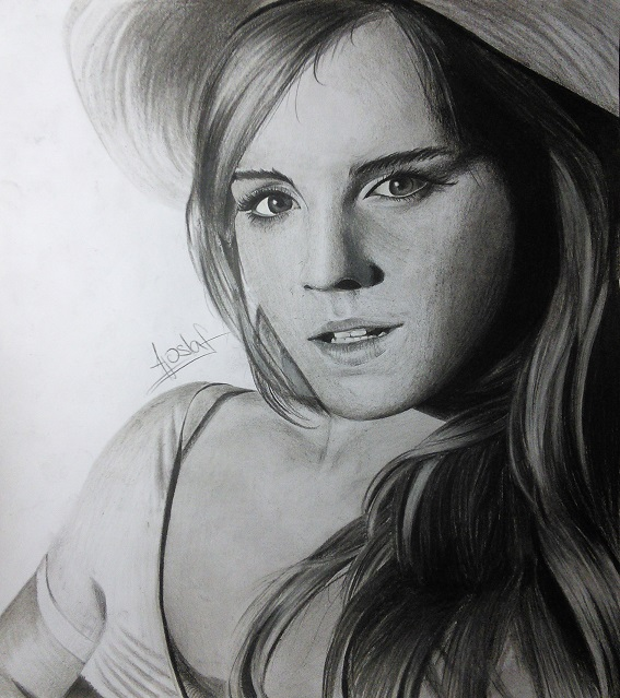 Emma watson blacknwhite drawing by